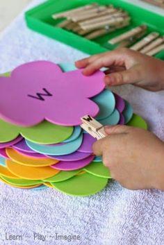 Fine motor alphabet match - preschool activity for spring