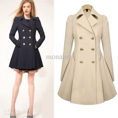 Women Fashion Winter Coat Slim Waist Coat Double Breasted Cool Outerwear 2 colors