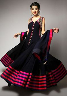 Georgette Lace Work Black Semi Stitched Long Anarkali Suit - 3045 In Stock: Rs 1,773
