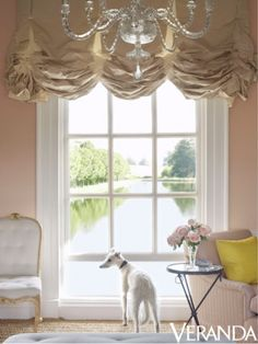 Beintema Beintema Pretty room with a whippet Room of the Day: lovely pink room with shimmery balloon shades by Veere Grenney Valance Window Treatments, Custom Window Treatments, Window Coverings, Balloon Curtains, Drapes Curtains, Valances, Drapery, Burlap Curtains, Interior Decorating Tips