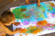 These kids have a great sense of color! Cute use of toddler paintings - have them go to town painting a large sheet of paper, then cut into animal shapes & frame. Great idea from sarahjane illustrating