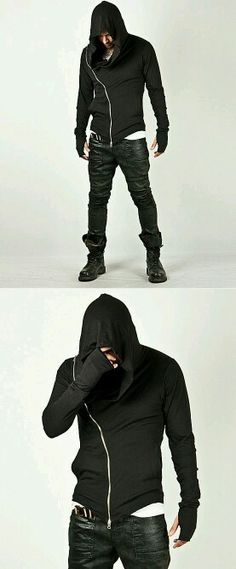 Unbeatable Arm Warmer Diagonal Zip Up Hoodie Charcoal - Jackets & Outerwear RebelsMarket Mode Masculine, Look Fashion, Mens Fashion, Fashion Outfits, Fashion Trends, Mode Man, Hippie Look, Mode Style, Kind Mode