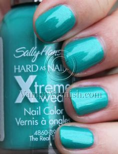 The Real Teal is a shimmery teal that leans on the green side. Description from vampyvarnish.com. I searched for this on bing.com/images