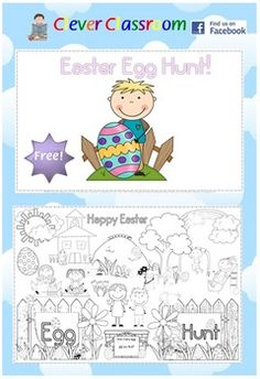FREE Easter Egg Hunt Poster and Coloring Page - PDF file2 page resource designed by Clever Classroom.Give your students 2 hunts this year