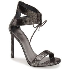 """Stuart Weitzman 'Tynela' Ankle Strap Sandal, 4 1/2"""" heel ($445) ❤ liked on Polyvore featuring shoes, sandals, pewter fragment nappa, metallic high heel sandals, high heels stilettos, lace up high heel sandals, ankle strap shoes and vintage sandals"""