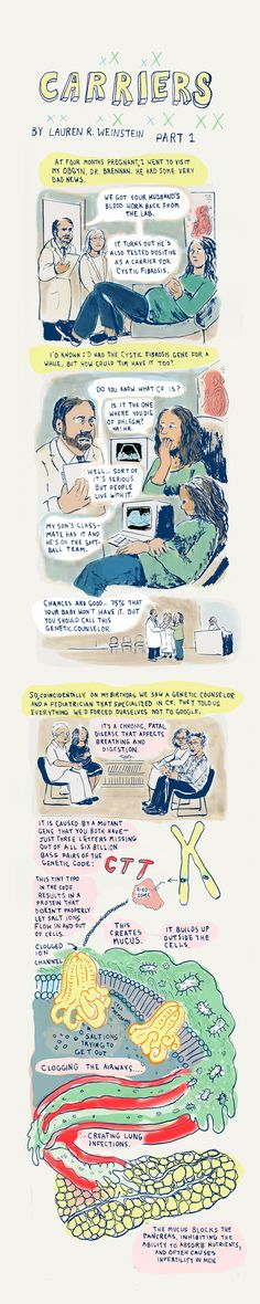 Cystic Fibrosis (CF) is a genetic disorder that many people may not realize they carry a gene for. This cartoon is very helpful understanding the genetics and implications of having the genetic mutation.