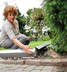 VINKELEN: Lene Fladeby på Bleiker har fått satt opp Asker laveste gjerde rundt hagen sin. Men det holder iberiaskogsneglene ute. – Man må være veldig påpasselig med skjøtene, og at ikke bladverk legger seg over gjerdet. Sneglene er noen sleipe beist, mener hun. FOTO: DAG TUFTE