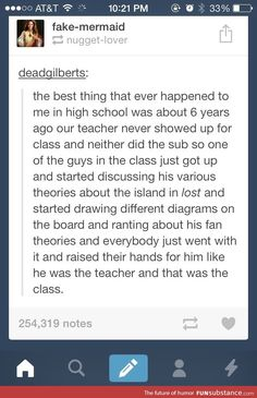 I love this. If I was a teacher and was absent, I truly hope that my class would just start theorizing fanfiction.