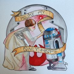 Tattoo Flash STARWARS Leia R2D2 Youre My by industrialillusions, $20.00