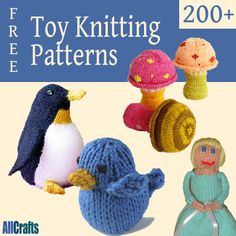 Over 200 free toy knitting patterns. Baby Knitting Patterns, Knitting For Kids, Free Knitting, Knitting Projects, Knitting Toys, Knitted Dolls, Crochet Dolls, Crochet Bear, Do It Yourself