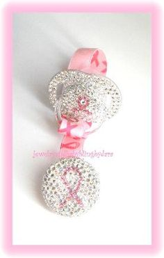Baby Bling Swarovski Crystal Pink Breast Cancer Ribbon Binky Bling Dummy and Clip Attacher