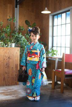 Little Girl in Blue Kimono