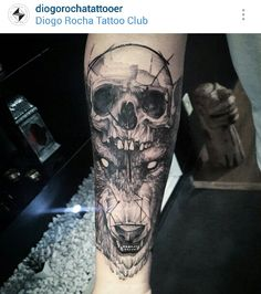 Black and gray skull and wolf tattoo by @diogorochatattooer