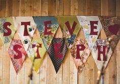 Colourful wedding bunting from vintage fabric