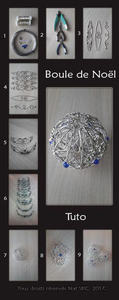 Tutoriel (Tuto) pour la réalisation de la Boule de Noël « L'incroyable » - Réalisation [ Fait-Main ] avec du fil d'aluminium (Ø1), des fils métalliques (Ø0,3), des perles métalliques et des perles de verre. / Matériaux utilisés : fils d'aluminium (3/2/0,8), fil métallique  (0,3mm), perles en verre, perles de rocaille. Conception et réalisation en suivant les traits sur mon gabarit papier. Assemblage élément par élément.  Ref. : Tuto_Boule-de-Noel.