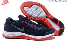 Buy Discount Mens Nike LunarGlide 4 Deep Blue Orange Shoes Sports Shoes Store