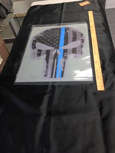 Call 781-848-1235 for your custom printing or embroidery needs of apparel, uniforms, banners, decals, coozies, mousepads, promotional items and a total of a million products to customize! AmericanReflective@gmail.com #skull #flag #americanflag #black #blue #gray #custom #stars