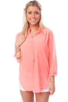 Lime Lush Boutique - Bright Coral Chiffon Button Blouse, $34.99 (http://www.limelush.com/bright-coral-chiffon-button-blouse/)#fashion #style #chronicleblog #lovefashion #new #fashionblog #instafashion #photomodel #beauty #trend #queen #day #us #follow #girl #dress #princess #look #lookbook #like #beautiful #cute #sexy #iphonesia