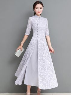 Gray&Coffee Lace A-line Long Cheongsam Ao Dai – uoozee Stylish Dresses, Simple Dresses, Beautiful Dresses, Casual Dresses, Fashion Dresses, Fashion Fashion, Women's Dresses, Runway Fashion, Fashion Trends