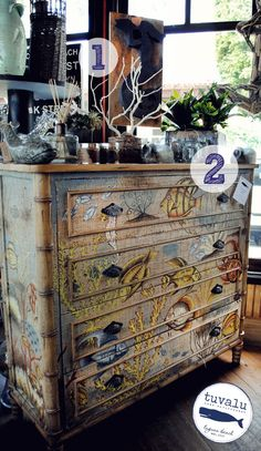 Decoupage Decals Stenciled Wallpaper Furniture On