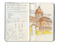 Sketchbook drawing of Palermo, Sicily with Winsor Newton watercolors. Love this bright burnt sienna.