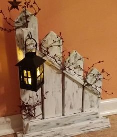 Rustic Home Decor Picket fence lantern candle holder Sold Individually or set picket fence candle holder lantern country decor Wohnen Deko Primitive Homes, Primitive Decor, Primitive Country, Country Decor, Rustic Decor, Farmhouse Decor, Country Homes, Rustic Wood Crafts, Country Fall