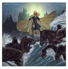 Glorfindel Flooding the Nazgul by the Fords (As Goes the Book) by Sebastian Giacobino Hobbit Tolkien, O Hobbit, Glorfindel, John Howe, Balrog, Gandalf, Aragorn, Thranduil, Middle Earth
