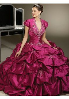 Ball Gown Halter Floor-length Taffeta Fuchsia Quinceanera Dresses #CUSA0245483 - See more at: http://www.avivadress.com/special-occasion-dresses/ball-gowns-quinceanera-dresses.html?p=5#sthash.VItJVF44.dpuf