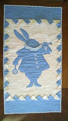 Alice in Wonderland Typography Quilt. Sunshine Fuzzy Bunny.