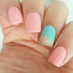 "WEBSTA @ nailstorming - Inspired by @amyytran!-Products used:Around my nail: Simply Peel @myblisskissBase/ Nude: ""You're So Vain-illa"" OPIMint: ""Ibiza Breeze"" @ellamilapolishBlue: ""Beach Resort Blue"" @ellamilapolishPink: ""Alive"" Formula XGlitter: ""Tomoko"" ZoyaBrush: @winstonia_store Top coat: HK girl @glistenandglow1"