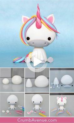 Diy Unicorn Cake, Unicorn Cake Topper, Unicorn Crafts, Cute Unicorn, Unicorn Birthday, Baby Unicorn, Baby Birthday, Diy Cake Topper, Cake Topper Tutorial