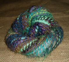 HANDSPUN YARN  Knot Yarn  Bulky Art Yarn Blue by tinkertailoruk, $42.00