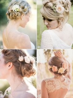 The top right picture for the flower and position. With your hair down all wild and curly :)