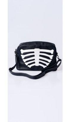 Black & White Wishbone Leatherette Bag