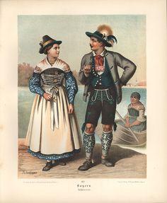 Dirndl Bavaria Gamsbart scarf Schliersee costumes Albert Kretschmer 062 - Antique Biller