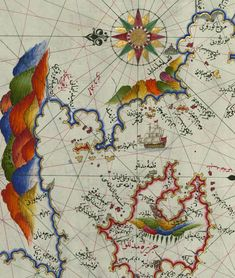 Antique Maps, Rooster, Vintage World Maps, Ottoman, Spaces, Antiques, Cartography, Ideas, Illuminated Manuscript