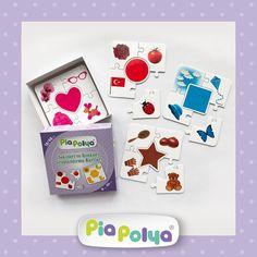 """""""Pia Polya Şekilleri ve Renkleri Gruplandırma Kartları"""" • 18-48ay çocuklar için tasarlanmış, çizimlerden oluşmaktadır. • İçeriği: 118mm x 118mm, kalın mukavva ve selefon kaplı 8 grup, 40 parça zeka geliştirci oyun kartlarıdır."""