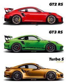Best Porsche Inspiration :   Illustration   Description   Top 3 of Porsche's actual 911 family: 1.) GT2 RS • Power: 515 kW / 700 PS • Topspeed: 340 km/h • 0-100 km/h: 2,8 sec. • Price: 285.220,00€ 2.) GT3 RS • Power: 383 kW / 520 PS • Topspeed: 312 km/h • 0-100 km/h: 3,2 sec. • Price: 195.137,00...