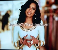 "Erica Mena's White & Gold Embellished Bandage Dress on ""Love & Hip Hop New York"""