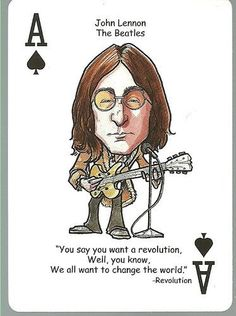 JOHN LENNON - Beatles Oddball ROCK & ROLL Playing Card by JOHN LENNON. $4.49. MINT Condition Card ... Very Nice Looking! ... Originally part of a deck of caricature-style playing cards ... Rather tough to find as a single card ... Same size as a regular trading card (2.5 inch by 3.5 inch) ... Back of card has a generic design ... No manufacturer/year or card number listed ... Nice Hard to Find Addition to your Collection ... Nice Gift Item for any Fan !! ... Accepted payment ...