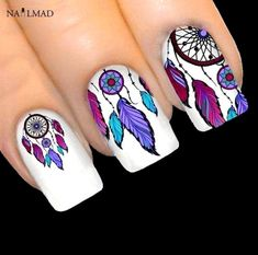 Item Type: Sticker & Decal Size: Quantity: 1 sheet Style: dreamcatcher Material: PET & Paper Model Number: 976 Brand Name: Nail MAD nail types Dreamcatcher Stickers Feather Nail Art Simple Nail Art Designs, Best Nail Art Designs, Nail Designs Spring, Toe Nail Designs, Acrylic Nail Designs, Latest Nail Designs, Pretty Designs, Acrylic Nail Art, Nail Art Diy