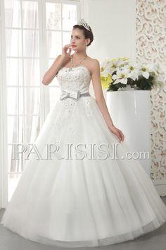vestidos de novia Encaje Elegante Moderno Glamouroso Sin tirantes Encaje Cuentas Marfil Sin Mangas Hasta Suelo Tul