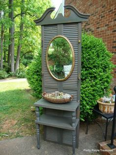 Vintage Shutter Hall Tree with Mirror
