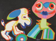 Artist: Karel Appel, Dutch (1921 - 2006) Title: The Circus Suite, Sur la Piste de Manhattan from Portfolio II Year: 1978 Medium: Woodcut with Embossing, Complete Series is of 30 Woodcuts with Embossing and Wood Sculpture Case (individually signed and numbered) Edition: 130, XX Size: 22 in. x 29.5 in. (55.88 cm x 74.93 cm)