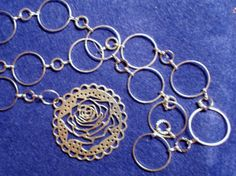 Rose Cut out Disk Pendant on 30 inch open link by redbudcrafts, $15.00