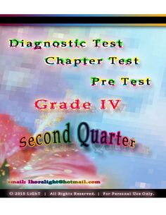 K TO 12 GRADE 4 DIAGNOSTIC / PRE TEST SECOND QUARTER Summative Test, Cheryl, Notes, Report Cards, Notebook