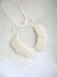Handmade white colored pearl peterpan collar by NurayAytac on Etsy, $50.00