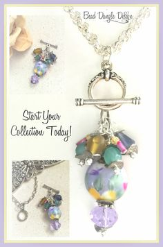 Handmade interchangeable beaded pendant necklaces leather chain lavender floral sea glass beaded pendant necklace 235 aloadofball Choice Image