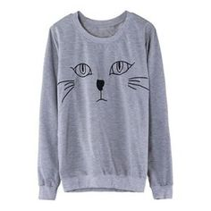Hoodies/Sweatshirts - Cat Face Embroidery Grey Pullover.Grey pullover, featuring a scoop neck and long sleeves, cat face embroidery to the ftont, ribbed details to the cuffs and the lower hem, soft wearing and high street style design. - See more at: http://pariscoming.com/en-cat-face-embroidery-grey-pullover-p151537.htm#sthash.QJnvk8hU.dpuf