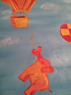 When Elephants Fly Original acrylic painting by FromUnderTheTree, $180.00